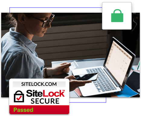 SiteLock Secure logo with woman looking at credit card, laptop, and mobile phone at desk